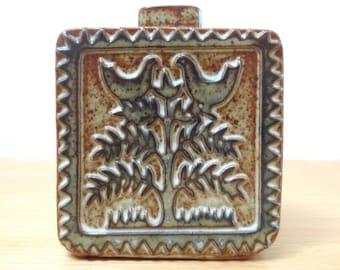 "Tiny Scandinavian? Ceramic Bud Vase, Tree of Life with Birds, Design on Both Sides, 2.9"" Tall, Retro Decor"