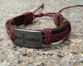 Engraved Cross Bracelet, Silver Metal Cross Panel, Brown Leather Bracelet, Red Hemp Rope, Wrapped Leather Rope Bracelet, Surfer Bracelet
