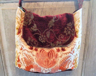 Chenille flat bottom purse, messenger bag, large tote, burnt orange, peach, hand made fabric handbag, market bag, shoulder bag