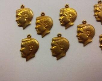 8 brass boy head charms