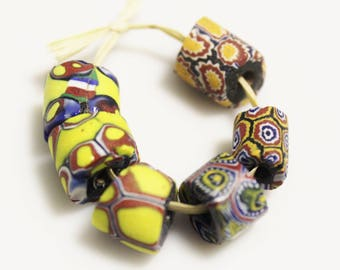 African Trade Beads, Venetian Millifiori Beads,Collectible Beads, Ethnic Jewelry Supplies (AJ204)