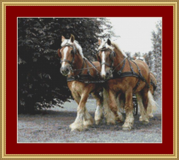Draft Horses Cross Stitch Pattern /Digital PDF Files /Instant downloadable
