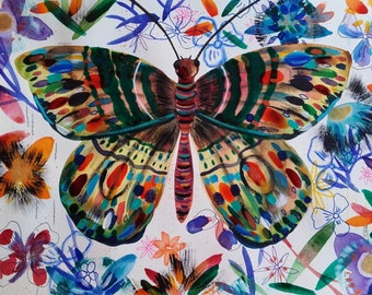 Butterfly Painting Butterfly Art Butterfly Watercolor Butterfly Flowers - Original Painting Butterfly Fine Art - Nature Animal Original Art