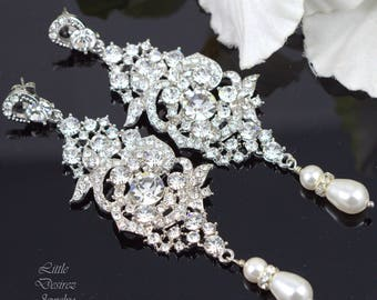 Wedding Bridal Earrings Vintage Inspired Jewelry Long Chandelier Earrings Rhinestone Pearl Earring Hollywood Glamour Swarovski Pearl MARILYN
