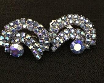Rhinestone Earrings Clips Blue Iridescent Stones, Bridal Earrings