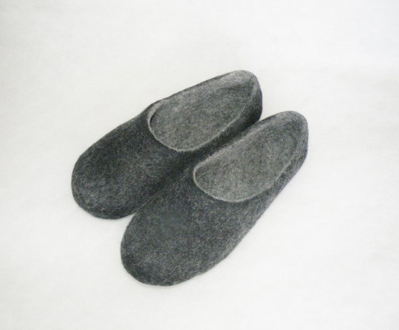 Hot Sale Black Felted Men Slippers Wool Felted Slippers House Shoes