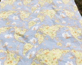 Pottery Barn Kids vintage twin duvet - world map - no shams