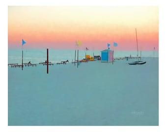 Sunset, Pastel Beach Painting, Seascape, Seashore, Mississippi Gulf Coast, Coastal Print 8x10 11x14 16x20 - Pastel in Paradise - Korpita