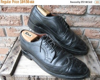 SALE Vintage Dack's Black Longwing Tip Pebble Grain,Leather Brogues, Gunboats, Goodyear Welted, Leather Soles Men's US 11 Made in Canada