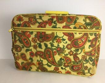 Vintage Floral Blue Carry On Bag Suitcase 1960's Overnight Bag Paisley Mod Suitcase
