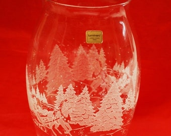 Luminarc Vase - Frosted etched  - Tree and Sleigh - Christmas Vase - France Verreie D'arques - Winter Scene