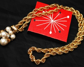 Pearl Tassel Necklace - Gold twisted chain - signed ACTII - white pearl -Mid Century