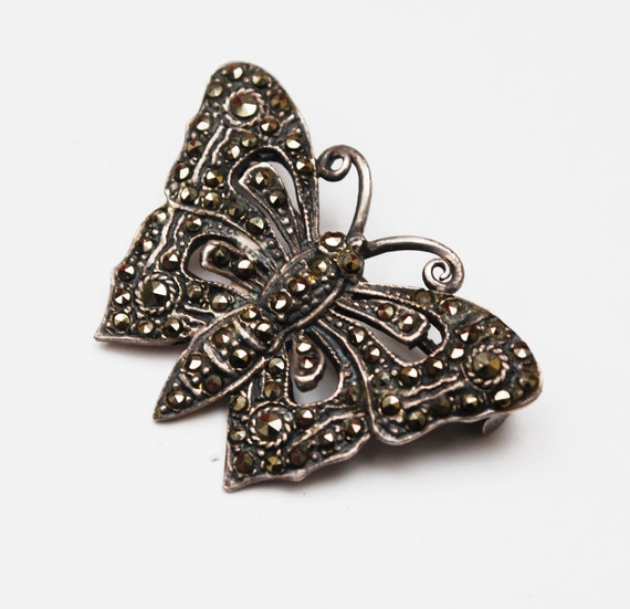 Sterling Marcasite Butterfly  Brooch - Silver Insect  Art Deco  figurine Pin