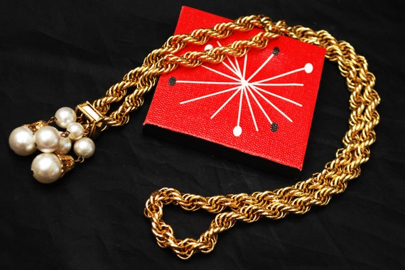 Pearl Tassel Necklace - Gold twisted chain - signed ACTII - whitepearl -Mid Century