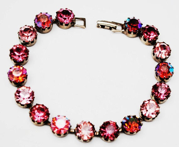 Pink Rhinestone Tennis  Bracelet - Aurora Borealis - Wedding Bride - Shades of Pink - bling link Mid century  bangle
