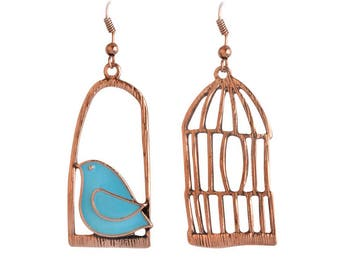 Asymmetric Earrings - bird and cage - copper