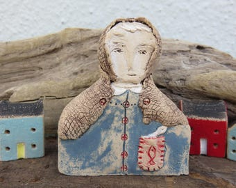 Ceramic Primitive Doll figure Fish Wife