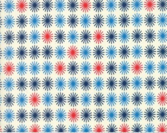 Sunday Drive True Blue Sun Burst - Moda Fabrics - 43072 14