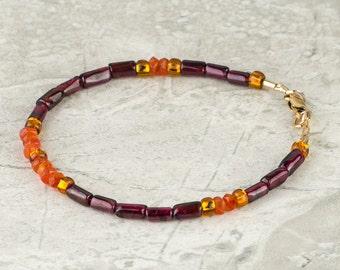 Garnet and Carnelian Gemstone Bracelet, Multicolor Bracelet w Purple Red, Orange, Topaz, Rhodolite Garnet, Stackable Bracelet, Slim Bracelet