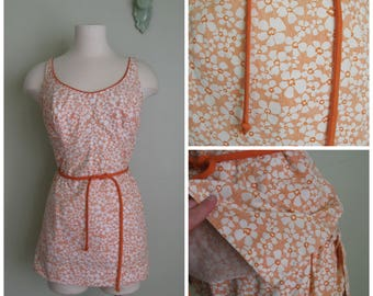 1960's Cotton Floral Playsuit// Shorties// Belted// Orange Sherbet// Size XL