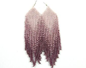 Boho earrings Bohemian earrings Seed bead earrings Long beaded earrings Fringe bead earrings Long dangle earrings Gypsy earrings Pastel rose