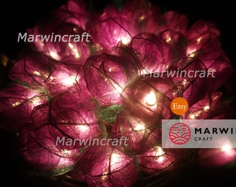 35 Purple Rose Flower Fairy String Lights Wedding Party Floral Decor Floral Party Patio Wedding Floor Hanging Gift Home Decor 3.5m