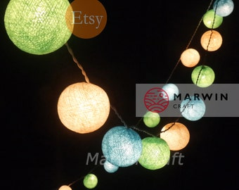20 Cotton Balls SoftLemon Tone Fairy String Lights Party Patio Wedding Floor Table or Hanging Wall Gift Home Decor Living Bedroom Holiday