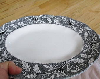 RARE Meakin Renaissance Sterling black Staffordshire platter  good with crazing. black transferware  China Galore