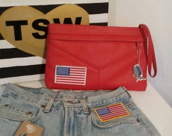 UPCYCLED VINTAGE USA flag firetruck red clutch with mirror usa keychain