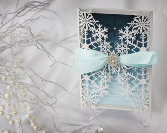 Winter Wedding Invitations - Luxurious Wedding Invitation - Laser Cut Wedding Invitations - Winter Wedding - Glitter Wedding Invitations