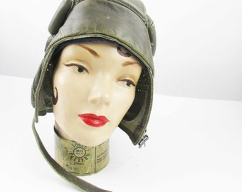 A 'Suisse Brero' Grey Leather Tank Helmet With Lining - Army Tank Personnel  - Helmet in Grey Leather - Imprinted Snap - Inventory Number