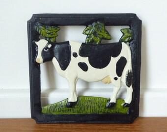 Square cast iron cow trivet