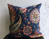Navy Blue Pillow Cover-  Distressed Vintage Looking Print, 18x18 Colorful Paisley Decorative Pillow Cover