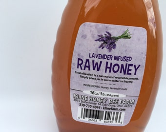 Lavender Infused Honey 1 lb.  All natural grown, harvested and infused right on the farm.
