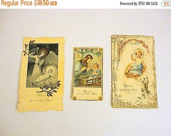 SALE Vintage Prayer Cards- 1900s - Christmas Nativity - Baby Jesus- SET of 3 -Antique Holy cards