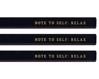 Note to Self Carpenter Pencil set. Funny pencils. Gold pencils. Cute pencils. Funny Gold pencils. Fathers Day gift. Mothers Day gift.