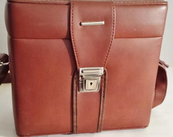 Vintage Italian Brown Camera Bag with Adjustable Strap