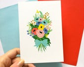Pastel Colours Flower Bouquet Card // Birthday // Anniversary // Wedding // Thanks // Mothers Day // Thinking of You // Congratulations