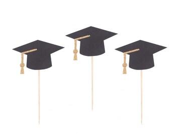 Graduation Cap Cupcake Toppers - Graduation Cupcake Toppers - Graduation Party Decor - Class of 2017 Cupcake Topper - Gold Graduation Party