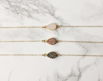 Dainty Druzy Pear Necklace  (Choose a Gemstone)