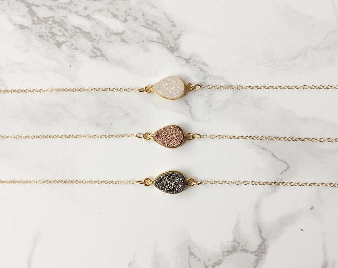 Dainty Druzy Pear Necklace  (Choose a Gemstone)