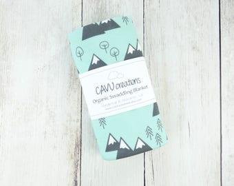 Mountains and Trees Organic Swaddling Blanket - Organic Cotton Baby Blanket in Designer Mint and Gray Print - Ready to Ship