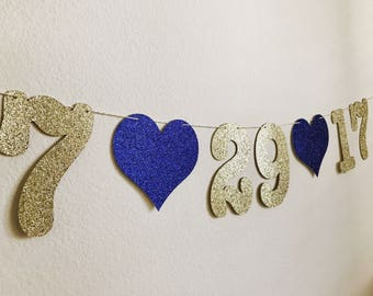 Date Banner, Save the Date Banner, Save the Date, Gold Date banner, Wedding Date Banner, Date garland, Photo Prop Date Sign, Date Sign