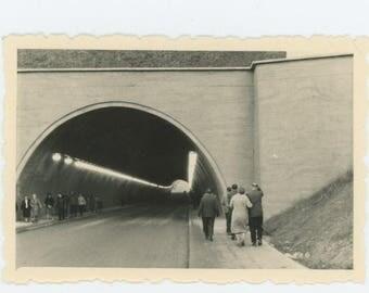 Vintage Snapshot Photo: Pedestrians in a Tunnel, c1960s (73560)