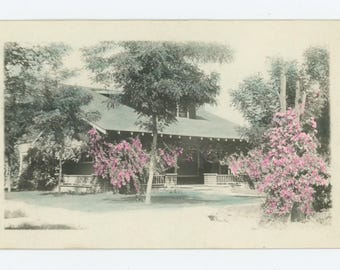 Vintage Tinted Snapshot RPPC Photo: Bungalow and Blossoms, c1910s (75574)