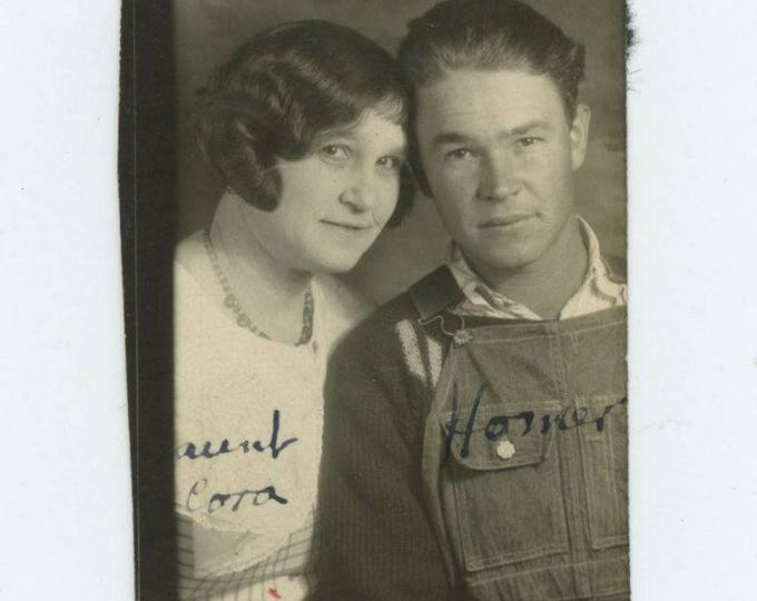 Vintage PhotoBooth Arcade Photo, c1930s: Aunt Cora & Homer (74567)