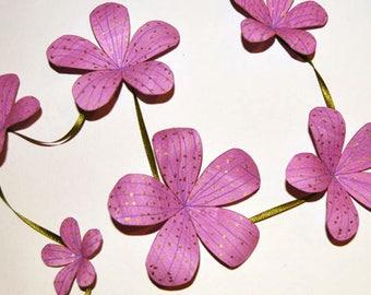 Purple Pink floral garland 1 metre length