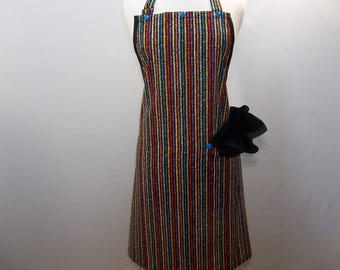 Colorful Stripes and Dots Artist Apron