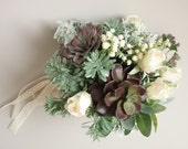Succulent Bridal Bouquet, Woodland Bouquet, Natural Wedding, Greenery Wedding, Alternative Bridal Bouquet, Succulent Bouquet, Green Wedding