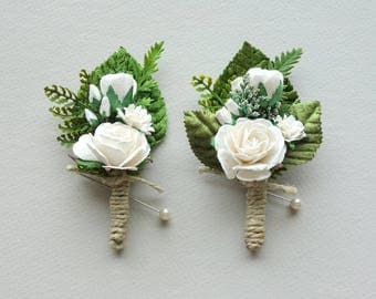 white boutonniere woodland boutonniere rose boutonniere rustic boutonniere forest wedding mens - Garden Rose Boutonniere